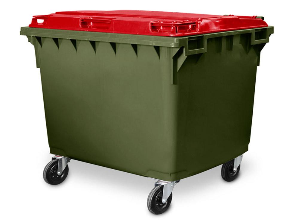 Heavy Duty 1700 Litre 4 Wheel Plastic Bin Green Body with Red Lid