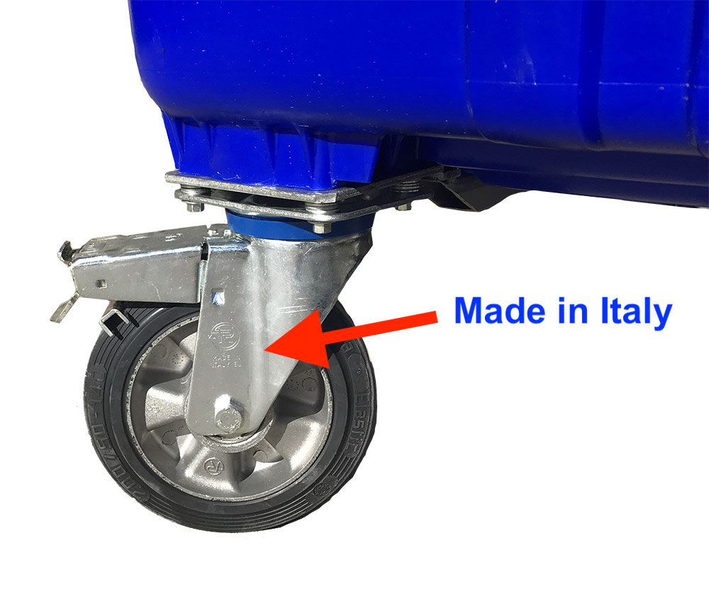 High Quality 1700 Litre 4 Wheel Bin in Blue body with Yellow Lid colour, Plastic Bins Supplier, Bins Wholesaler Melbourne