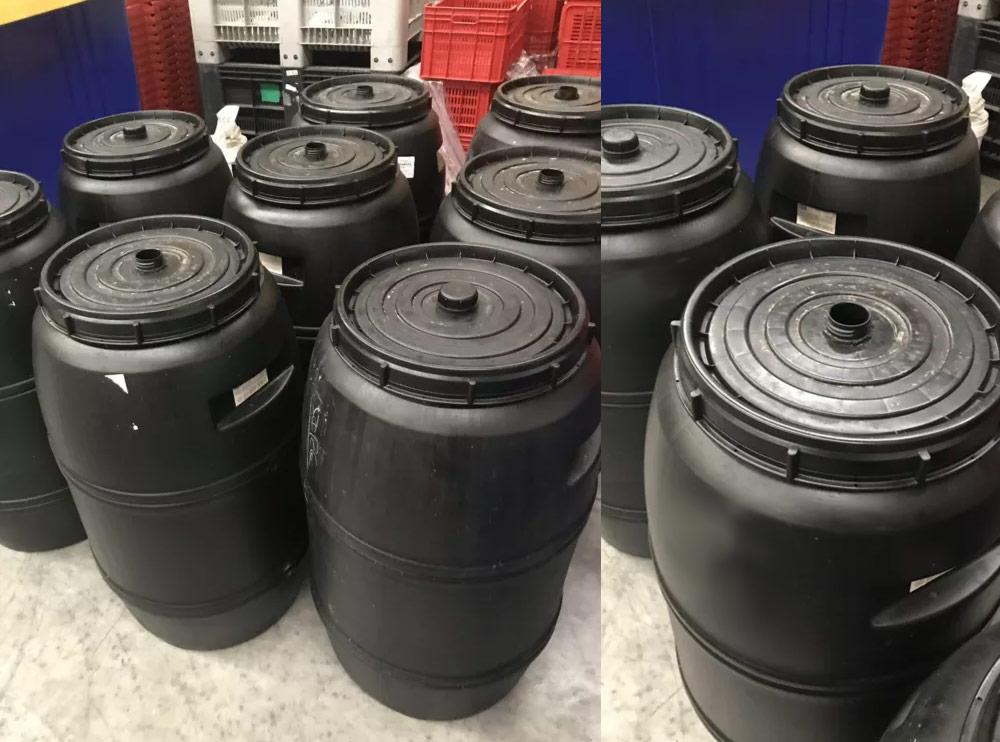 Black Drum 220 litre Food Grade HDPE Plastic Barrel