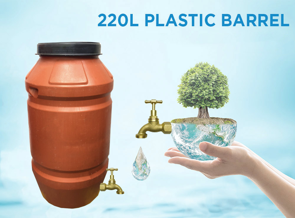 220 litre Heavy Duty Plastic Drum with Brass Tap