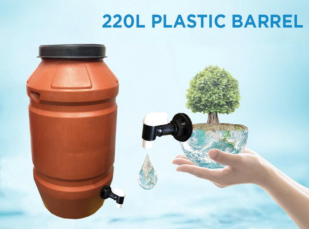 220 litre Heavy Duty Plastic Drum with Plastic Tap
