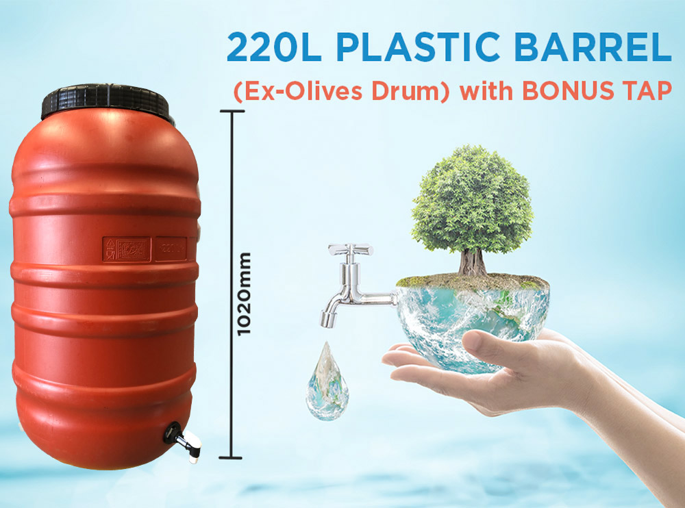 Olive Drum HDPE Plastic Barrel 220 litre with Heavy Duty Tap
