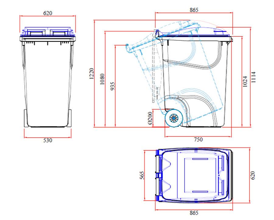 360 Litres Wheelie Bin specifications