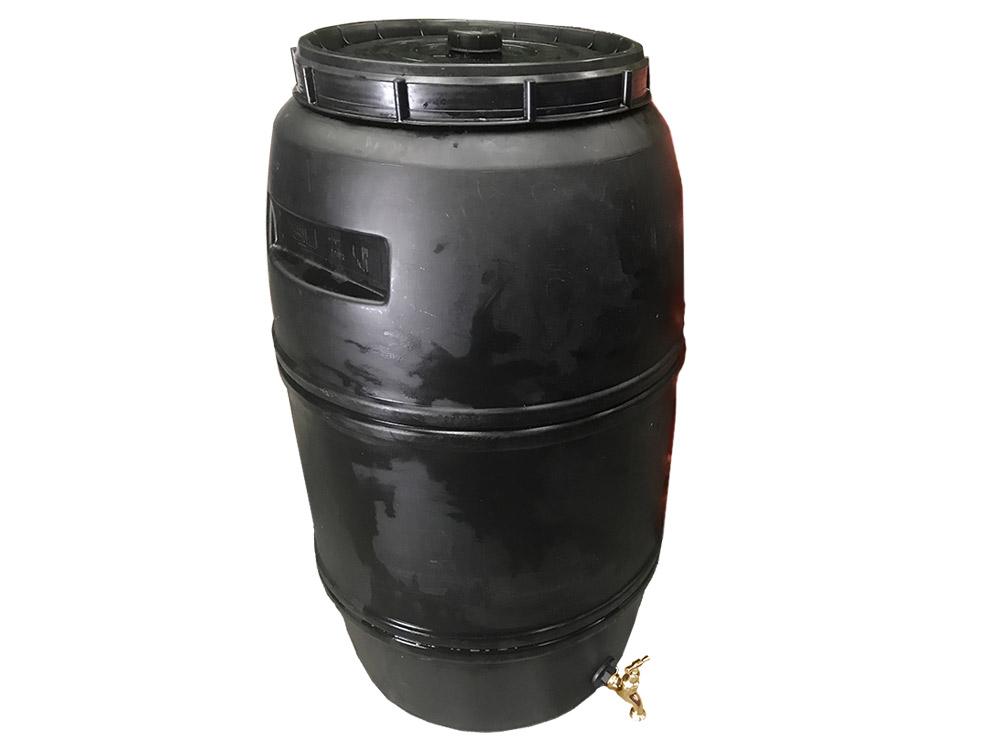 220 litre Black Drum Food Grade HDPE Plastic Barrel with Brass Tap