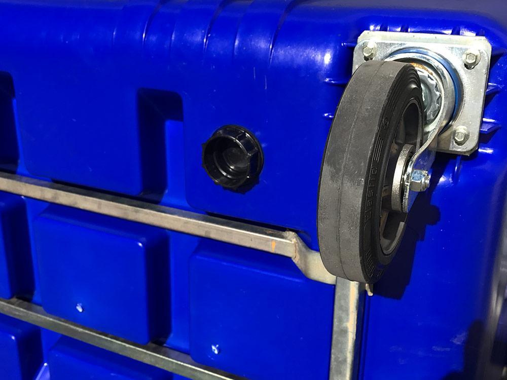 Drain Hole on 1700 Litre 4 Wheel Bin in Blue body with Yellow Lid colour, Plastic Bins Supplier, Bins Wholesaler Melbourne
