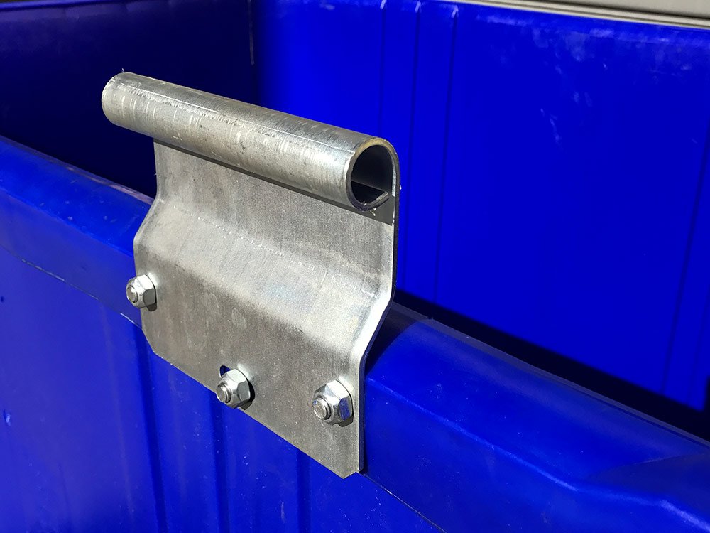 Heavy Duty Hinges 1700 Litre 4 Wheel Bin in Blue body with Yellow Lid colour