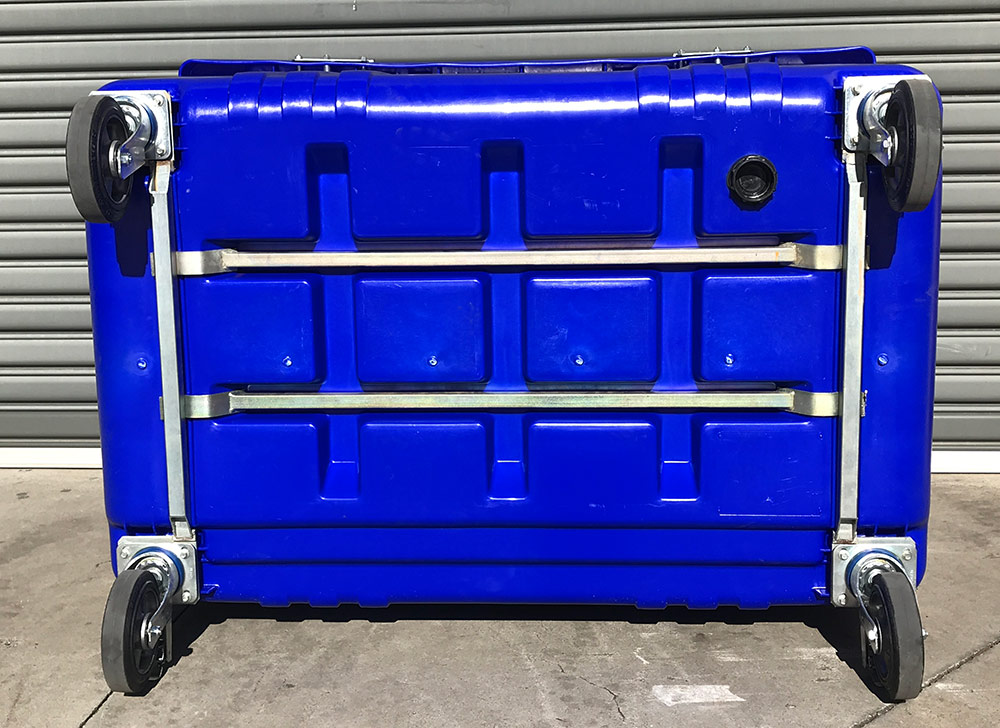 Reinforced Floor of 1700 Litre 4 Wheel Bin in Blue body with Yellow Lid colour