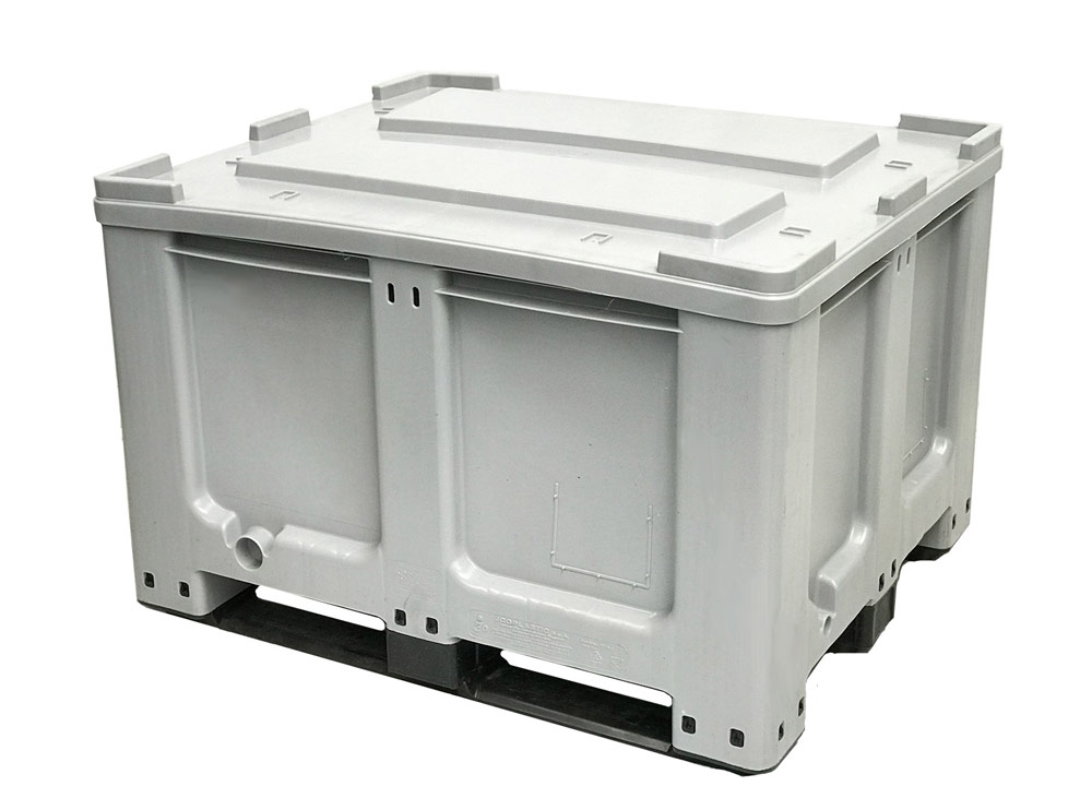 CTR 760 Solid 610L Plastic Pallet Bin & 2 Skids Runners in Grey colour