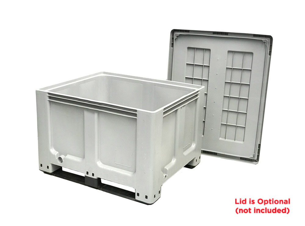 CTH2 800 Solid 520L Plastic Pallet Bin with Lid & 2-Skids Runners in Grey colour