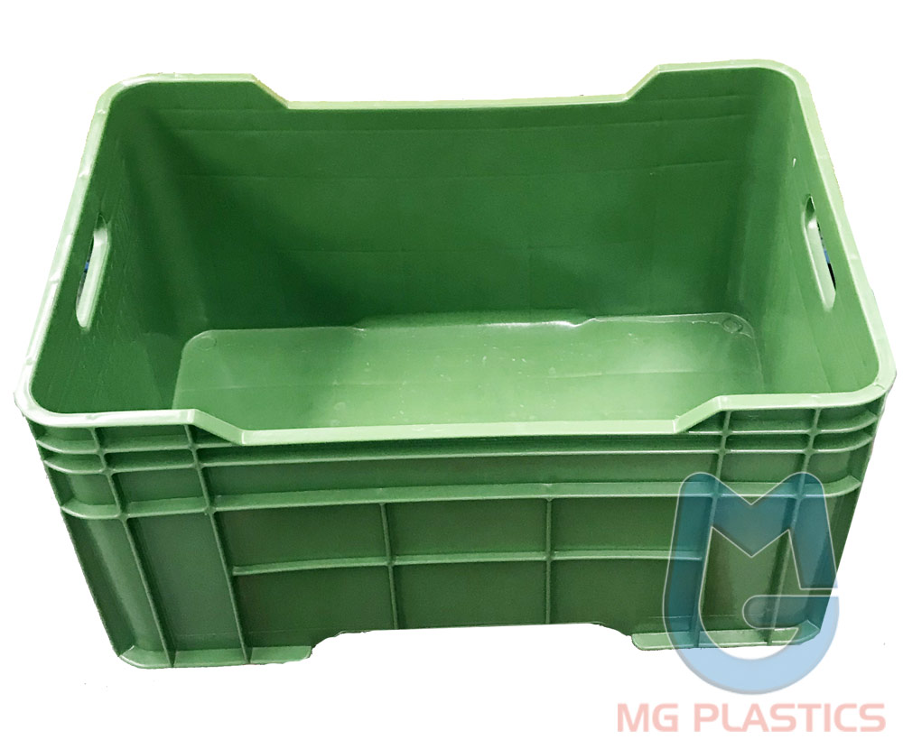DE Solid Plastic Crate in Green colour