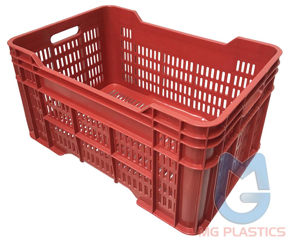 DE Vented Plastic Crate in Red