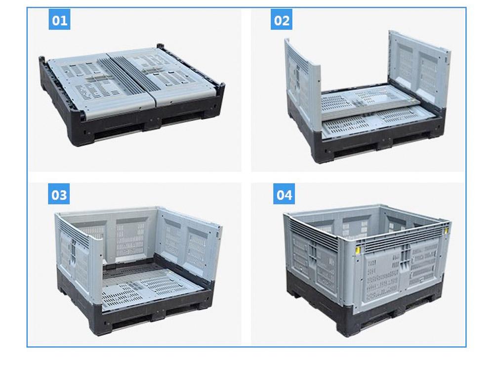 Collapsible Folding Bin Vented Pallet Bin Steps