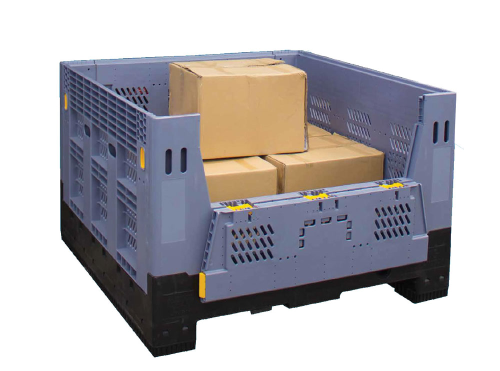 Folding Full Size Bin vented Gate 750L Collapsible Pallet Bin