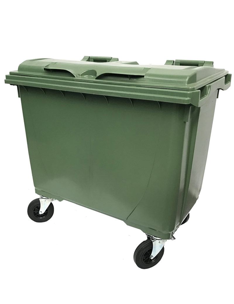 660 Litre 4 Wheel Bin in Green colour, Wheelie Bins Supplier, Wheelie Bins Wholesaler Melbourne
