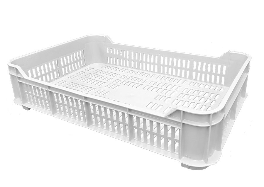 Plateau P1 Vented Plastic Tray Crate in White - Bakery Tray, Fruit Picking Tray