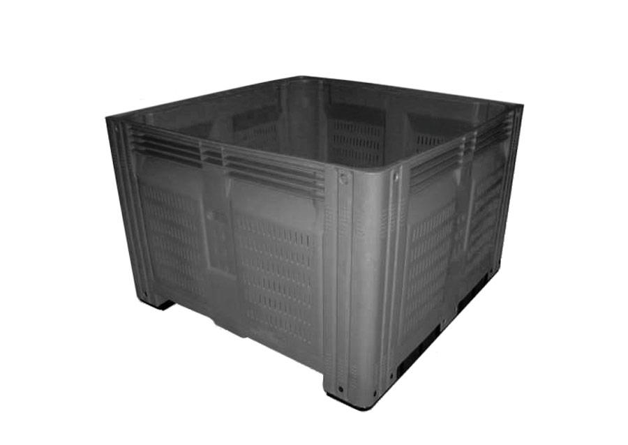 Super Bin 580 Vented Plastic Pallet Bin in Dark Grey