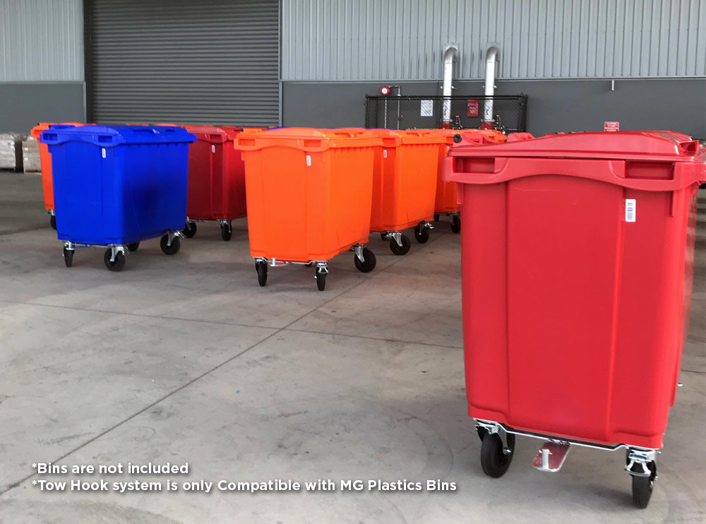 Tow Hook System Kit for Large Plastic Bins 660L