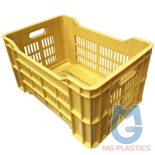 AE Vented Plastic Crate 42 Litre Yellow