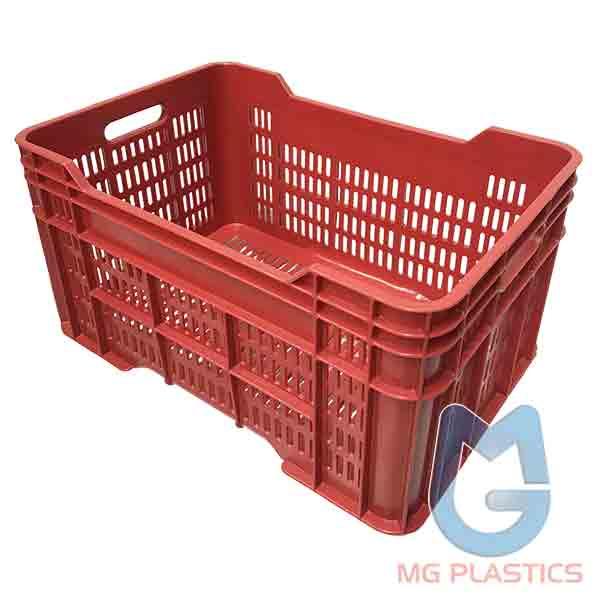 DE Vented Plastic Crate 58 Litre Red