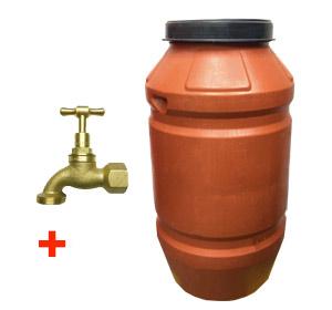 220 litre Heavy Duty Plastic Drum Food Grade HDPE with Heavy Duty BRASS Tap