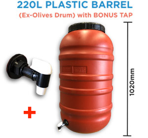 220 litre Olive Drum Food Grade HDPE Plastic Barrel with Heavy Duty Tap