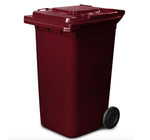 240 Litre Wheelie Bin in Burgundy Red