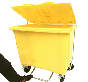 660 Litre 4 Wheel Plastic Bin with Foot Lid Lifter in Yellow
