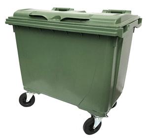 660 Litre 4 Wheel Plastic Bin in Green