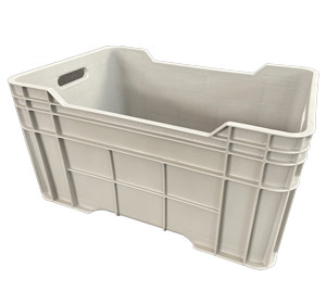 DE Solid Plastic Heavy Duty Crate 58 Litre Grey