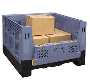 Folding Full Size Bin Vented with Gate 750L Litre & 780H High Plastic Collapsible Pallet Bin