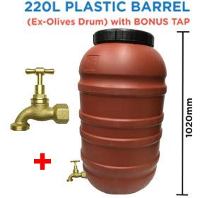 220 litre Olive Drum Food Grade HDPE Plastic Barrel with BRASS Tap