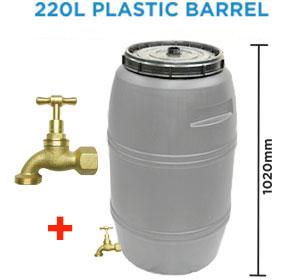 220 litre Grey Drum Food Grade HDPE Plastic Barrel with BRASS Tap
